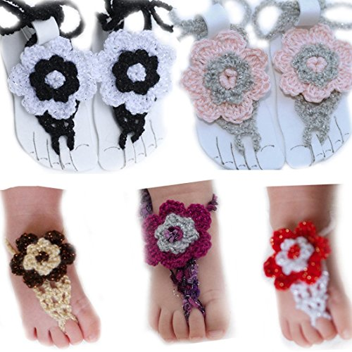 Zacr Pure Handmade Knit Flowers Barefoot Sandals Infant Toddler Baby Feet Decoration (White gray)