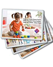 Magnetic Photo Holders for Refrigerator - Magnetic Photo Picture Frames - White Magnetic Photo Pockets - Holds 5x7 Photos