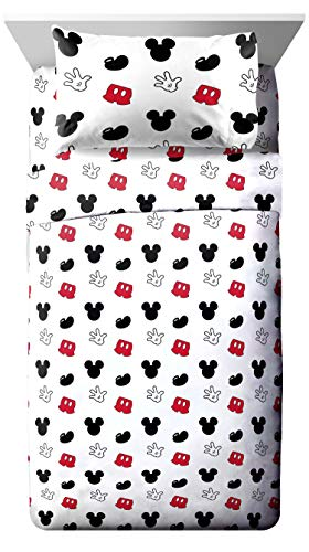 Jay Franco Disney Mickey Mouse Cute Faces Twin Sheet Set - Super Soft and Cozy Kid's Bedding - Fade Resistant Polyester Microfiber Sheets (Official Disney Product) ()