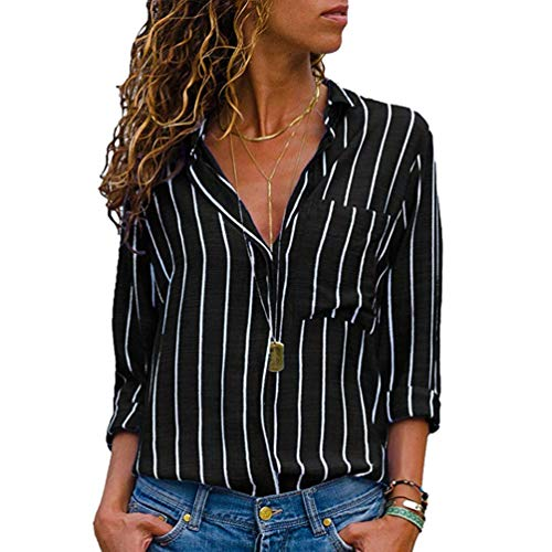 Grande V Tops Chemisier Taille Noir Boutons Femme Xinwcang en Vrac Hauts Col Manches Longues Raye Shirt Blouse T Chemises xaq8H