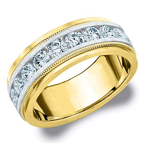 2CT Heritage Men's Diamond Ring in 14K Two Tone Gold Satin Finish (H-I Color, I1-I2 Clarity) - Finger Size 10.25 (Tone Ring Tiffany Two)