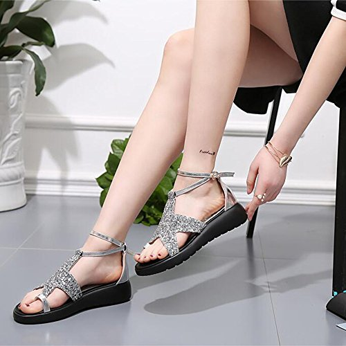 azul la sandalias de La verano del Plata playa planos púrpura femenino Zapatos sandalias plata del 4cm de las cómodo MEIDUO dtq6IwWvw