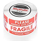 "Methdic 500 Labels 2""x3"" Fragile Stickers, Permanent Adhesive Red Warning Fragile Labels for Goods Packing Safe Shipping and Moving - Please Handle with Care - Fragile - Thank You (500 Labels)"