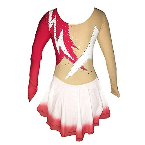 Lungo Performance Elevata Elasticità Vestito Dress Spandex Strass Red Elastan Mano A Da Donna Pattinaggio Zhangminzl Ragazza Jeweled Skating Ice fcUqRqwZ7