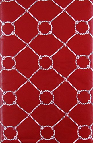 "Nautical Rope with Zipper Umbrella Hole Vinyl Flannel Back Tablecloth (Red, 70"" Round)"