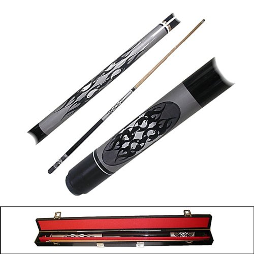 2 Piece Hardwood Ying Yang Design Pool Stick Cue - With Carrying Case! by TMG