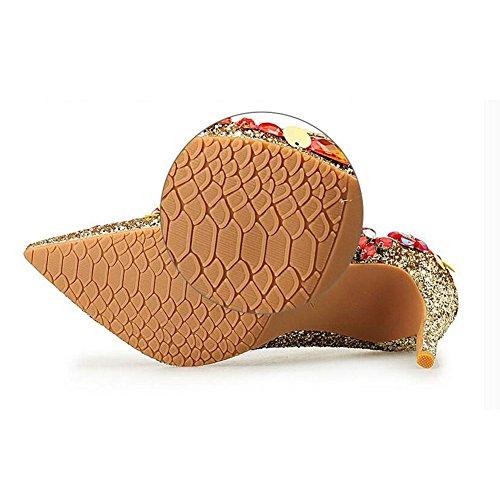 L@YC® Frauen High Heeled Schuhe Golden Spitz Flachen Mund mit Sommer Sandalen Tanzkleid Kleid White