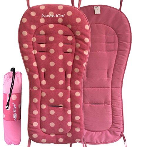 WonderKids Baby Stroller Pad and Seat Liner (Polka Pink)