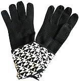 Michael Kors Womens Gloves MK Logo Knit Cuffed Gloves Black White