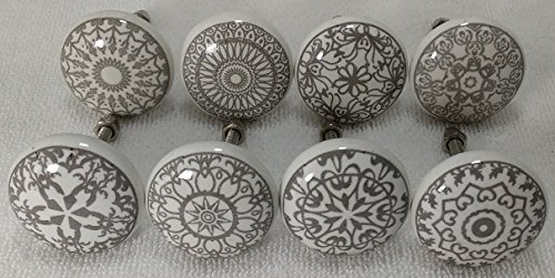 - 12 Door Knobs Grey & White Hand Painted Ceramic Knob Cabinet Knobs Drawer Pull by Zoya's