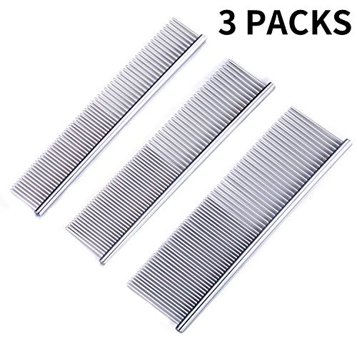 KABUDA 3 Pack Pet Comb, Chrome Electroplating Steel Combs in 3 Sizes (19 x 3 cm, 19 x 4 cm, 19 x 5 cm) for Dogs, Cats, and Other Pets with Different Lengths of Hair (Pack of 3)