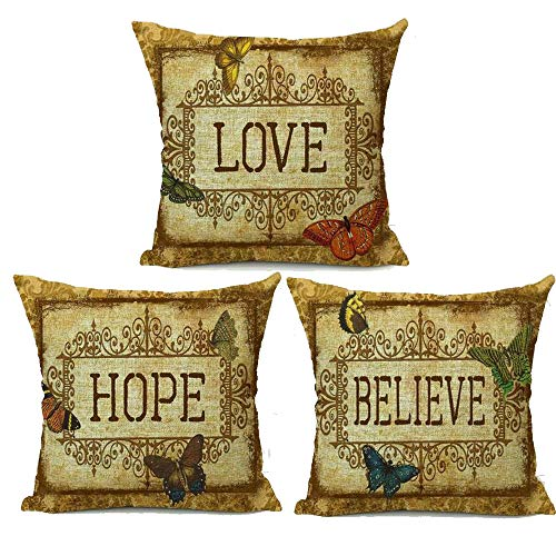 FELENIW Set of 3, Retro Love Hope Believe Encouraged Words Butterfly Cotton Linen Decorative Throw Pillow Cover Cushion Case 18x18 inches