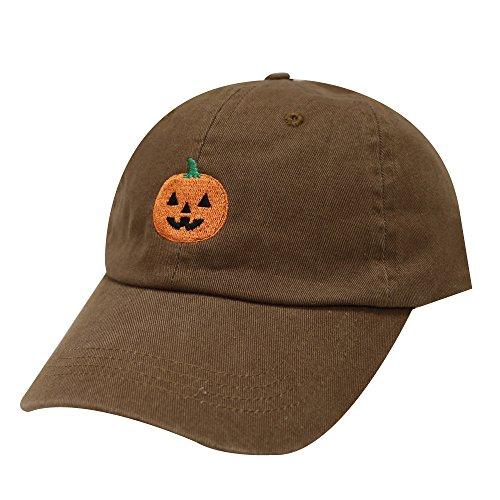 City Hunter C104 Halloween Pumpkin Cotton Baseball Dad Caps 16Colors (Brown)
