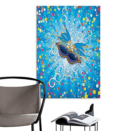 Wall Mural Wallpaper Stickers Mardi Gras Blue Backdrop with Colorful Dots Spots and Carnival Mask with Stylized Swirls Multicolor Large Removable Decals W16 x H20]()