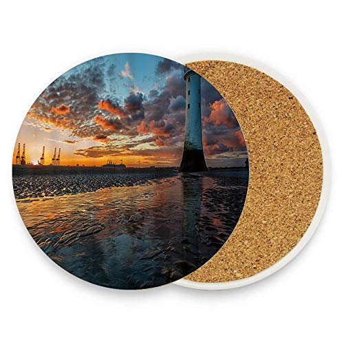 MichelleSmithred Port Wharf Lighthouse The Setting Sun (2) Ceramic Coaster Absorbent Stone Coaster for Coffee Mug Glass Cup Mat 1 Piece