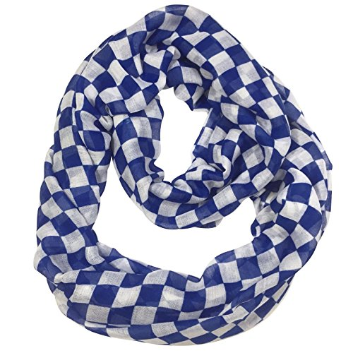 Checkerboard Squares Lightweight Thin Poly Infinity Scarf (Royal Blue and White) (Blue Royal Checkerboard)