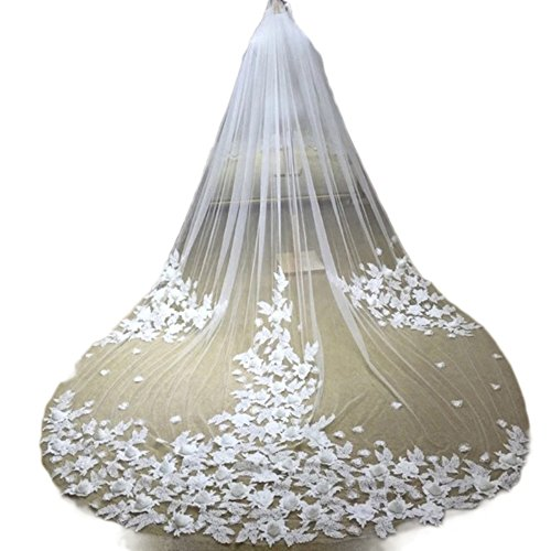 Ruolai Women's Handmade Flower Sheer Tulle Wedding Bridal Veils Cathedral for Bride with Comb (ivory) by Ruolai
