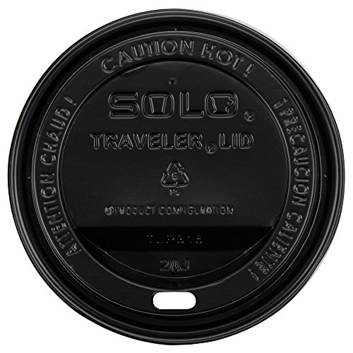Dart Solo TLB316-0004 Traveler Black Dome Hot Cup Lid with Sip Hole (Dome Sip Lid)