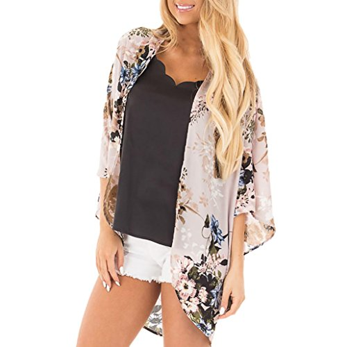 (Clearance! Mikey Store Kimono Cardigans Floral Loose Half Sleeve Shawl Chiffon Casual Cardigan (Small, Beige))