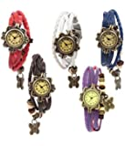 Gold Leaf New 2018 Special Collection Multi color Round Dial Leather Dori Strap Women's Watch (Combo of 5 Watches) Color Very