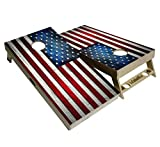 BackYardGamesUSA American Flag Series - Premium Cornhole Boards w Cupholders and a Handle - Includes 2 Regulation 4' x 2' Cornhole Boards w Premium Birch Plywood and 8 Cornhole Bags