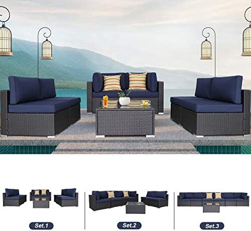 EXCITED WORK 7PCs Outdoor Patio Rattan Sofa