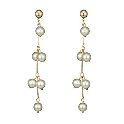 3249861ad Amazon.com: Creazrise Natural Freshwater Pearl Dangle Earrings ...