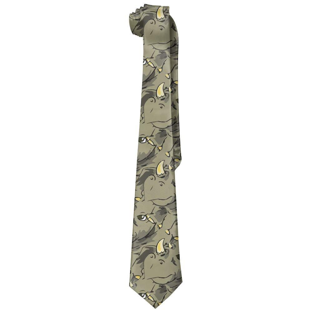Shadidi Mens African Rhinoceros Green Fashion Tie Necktie