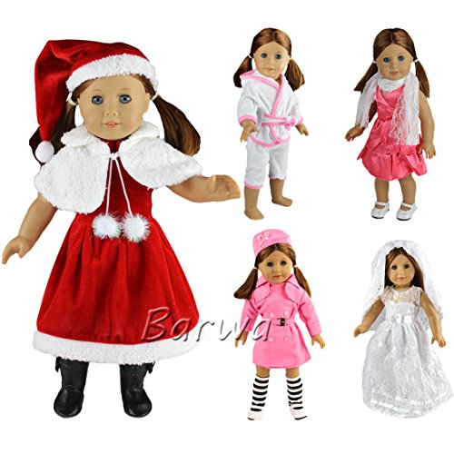 Barwa 5 Set Doll Clothes Lot Outdoor Dresses Christmas Costume Pajamas + Hats + Scarfs + Socks for 18 Inch American Girl Doll Gift (Christmas Dress Costume)