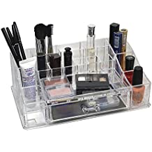d'Moda Designs Crystal Clear Acrylic Makeup and Jewelry Organizer Tray with Unique Built-In Storage Drawer for Lipsticks, Nail Polish, Brushes, Skincare, Blush and More.