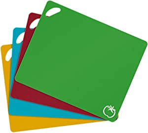 HENGMAO Extra Thick Flexible Plastic Cutting Board for Kitchen, Set of 4 Colored Dishwasher Safe Cutting Board Mats with Food Icons & Easy Grip Handles