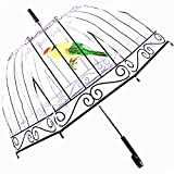Kung Fu Smith Birdcage Clear Bubble Dome Umbrella, See Through Plastic Umbrella For Kids Girls and Women