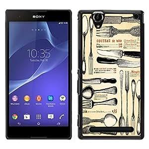 Dragon Case - FOR Sony Xperia T2 Ultra - knife and fork - Caja protectora de pl??stico duro de la cubierta Dise?¡Ào Slim Fit