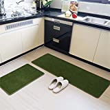 MAXYOYO Japanese Style Short Velvet Carpet Runner Rug 2 Pieces Set, Ultra Soft Velvet Kitchen Bathroom Anti-slip Area Rug, Entrance Floor Mat Set 24x16 In + 47x16 In