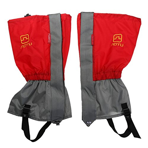 Ponis-Limos - 1 Pair Waterproof Leg Covers Sleeve Snow Gaiters Cover Leg Boot Hiking Skiing Climbing Legging Gaiters Cover Outdoor Tools Red