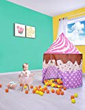 SUGAR Q Large Portable Folding Purple Polka Dots Cupcake Play Tent Playhouse Play hut Ball Pit Pool Castle Toy,Kids Girl/Boy Birthday Gift Party Indoor/Outdoor Non-Toxic/Odor-Free