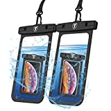 Njjex Waterproof Phone Pouch, 2-Pack Waterproof Case Cellphone Dry Bag & Lanyard for iPhone Xs Max,XR,6/7/8 Plus,Samsung Galaxy S10 Plus,S10E,S9/S8 Plus,S7,S10 5G,Note 9,Note 8,Moto Z3,Z4,Z2 [Black]