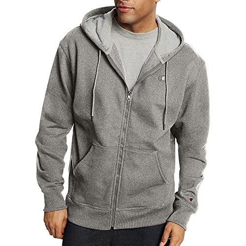 (Champion Men's Powerblend Fleece Full Zip Jacket_Oxford Grey_XL)