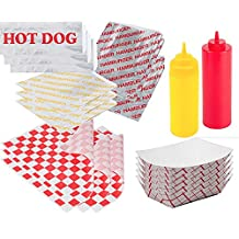 Ketchup & Mustard Hamburger & Hot Dog Foil Wrap Bags - Food Tray Containers + 25 Hamburger & Cheeseburger Bags & 25 Hot Dog Foil Wraps 50 sandwich outdoor picnic party BBQ fun pack sandwich papers by USParty