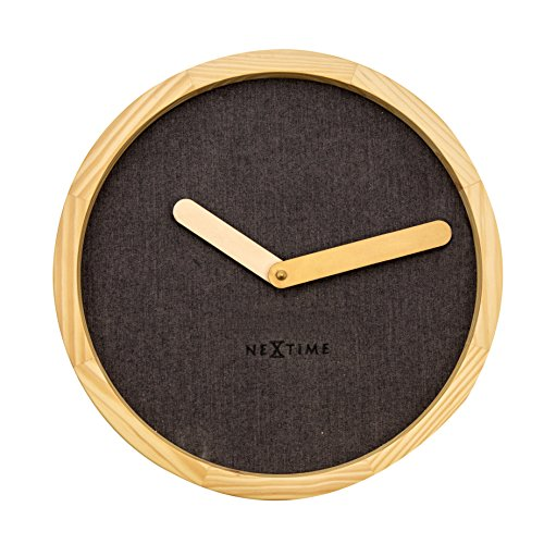 Unek Goods NeXtime Calm Wall Clock, Round, Natural Wood Frame and Hands, Dark Chocolate Fabric Face, Battery Operated (Universal Round Wood Clock)