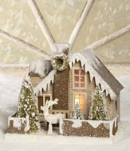 Bethany Lowe - Christmas - Cottage In The Woods with Reindeer, Large - LC3572
