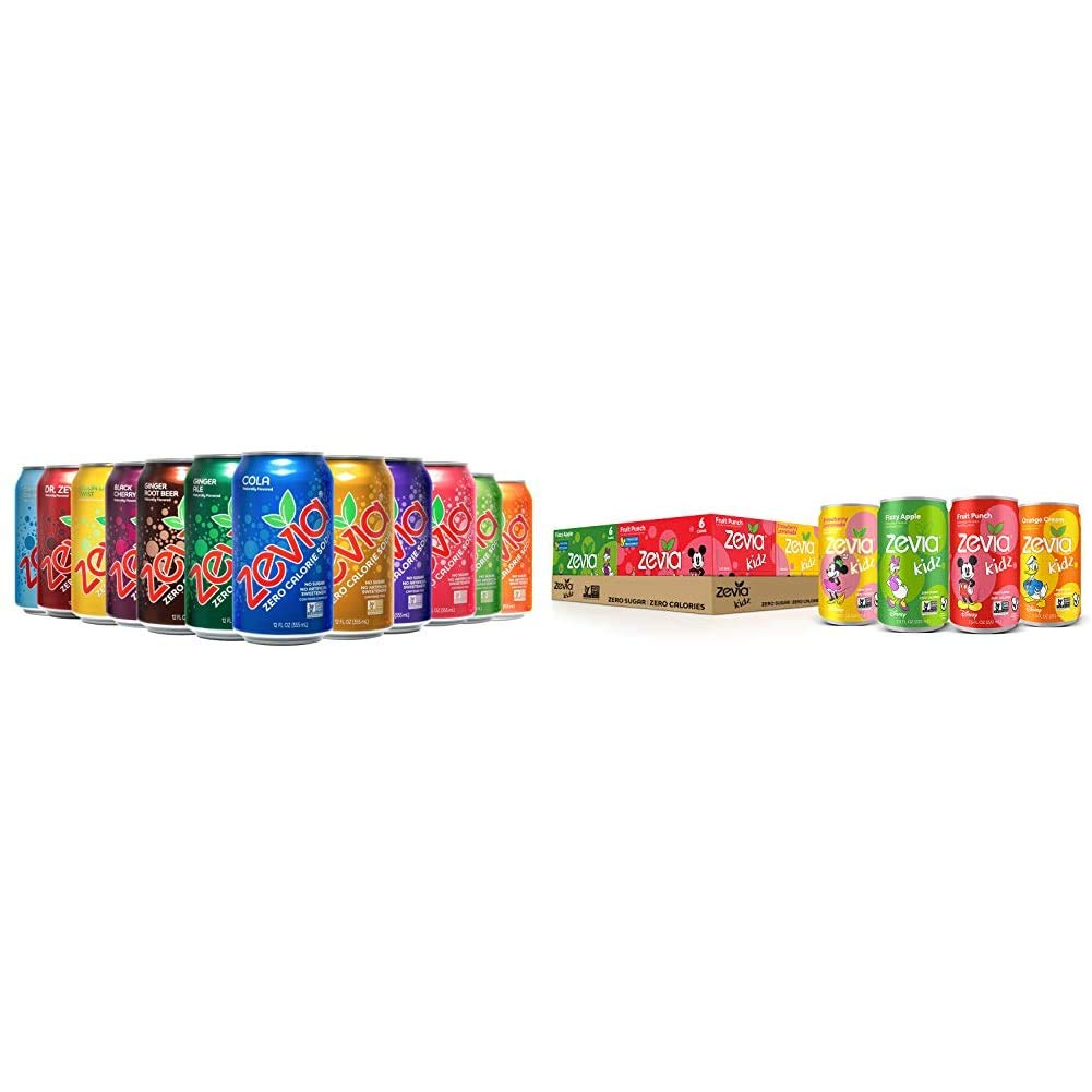 Zevia Zero Calorie Soda, Rainbow Variety Pack, Naturally Sweetened Soda, (24) 12 Ounce Cans; Cola, Ginger Root Beer & Kidz Sparkling Drink, Variety Pack, 7.5 Ounce Cans (Pack of 24)