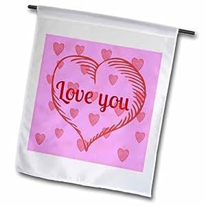 """3dRose fl_172889_2 """"Love You, Pink, Red Heart"""" Garden Flag, 18 x 27"""""""