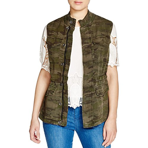 Sanctuary Womens Camouflage Sleeveless Casual Vest Green XL (Camouflage Vest)