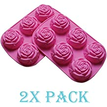 2 pack of X Large Rose Flower Ice Cube Chocolate Soap Tray Mold Silicone Party maker (Ships From USA)