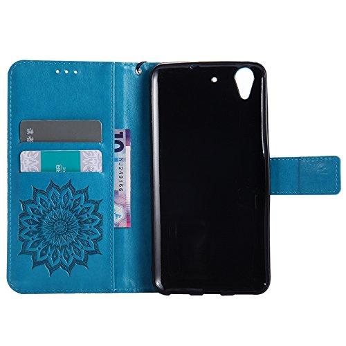 YAJIE-Carcasa Funda Para Huawei Honor 5A / Huawei Y6 2, Diseño de la impresión de la flor de Sun Cuero de la PU Tirón Cartera funda protectora con ranura para tarjeta de soporte ( Color : Red ) Blue