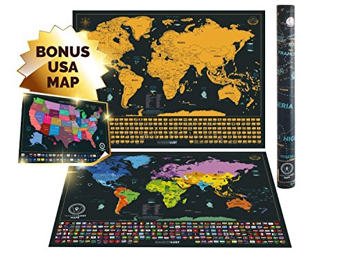 Scratch Off World Map XL Edition + Premium Scratch Off USA Map ...
