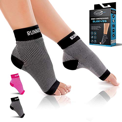 Plantar Fasciitis Socks with Arch Support (1 Pair) - Compression Foot Sleeves for Men & Women, Plantar Fasciitis Pain Relief, Better than Night Splint Brace, Ankle Support, Heel Spurs, Eases Swelling -