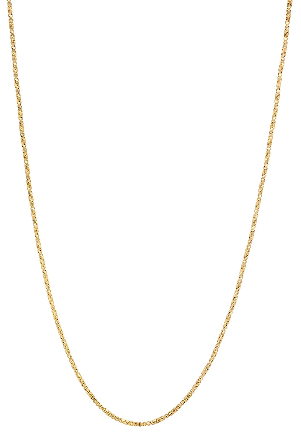 The Bling Factory 1.1mm 25 Mills 14k Gold Plated Twisted Box Link Chain