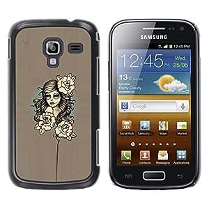 LECELL--Funda protectora / Cubierta / Piel For Samsung Galaxy Ace 2 -- Mujer floral --